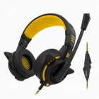 Bingle G1 3.5mm Wired Headband Headphone w/ Microphone / Remote - Black + Yellow