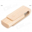 MZ-05 Creative Wood Shell Rotating USB Flash Drive - Wood + Silver (4GB)