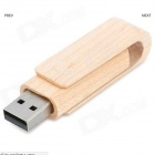 MZ-05 Creative Wood Shell USB giratorio Flash Drive - Madera + plata (8 GB)