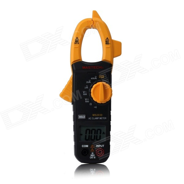 "MASTECH MS2030 1.52"" Screen Auto Range Clamp Style Multimeter w/ Data Hold - Black + Yellow"