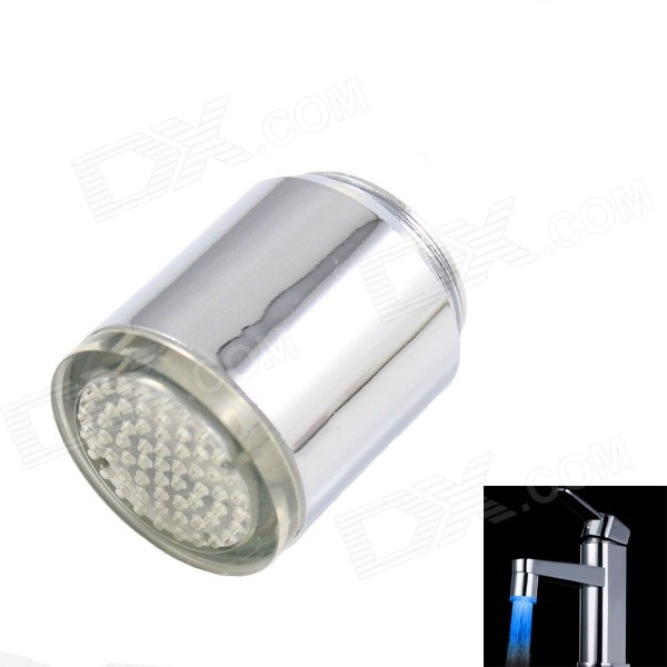 01-A9 Blue Color LED Water Visualizer Shower Faucet Light - Silver