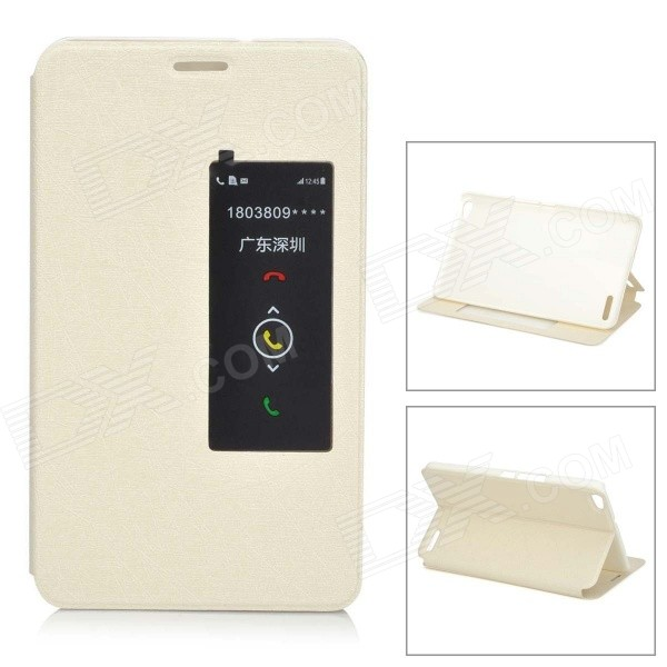Protective Flip Open PU + PC Case w/ Stand / Sleep Function for Huawei Honor X1 - White
