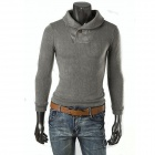 T8526 Men's Fashionable Leisure Pure Color Knitted Sweater Knitwear - Grey ( XL)