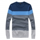 F52522 Fashion Men's Cotton Blended Splicing Round Neck Sweater - Gray + Blue (XL)