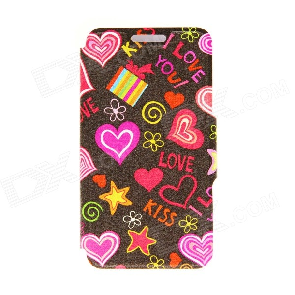 Kinston I Love You Patterned PU Leather Full Body Case w/ Stand for Motorola Moto G - Black + Red kinston silk pattern pu leather full body case w stand for motorola moto g golden