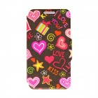 "Kinston ""I Love You"" Patterned PU Leather Full Body Case w/ Stand for Motorola Moto G - Black + Red"