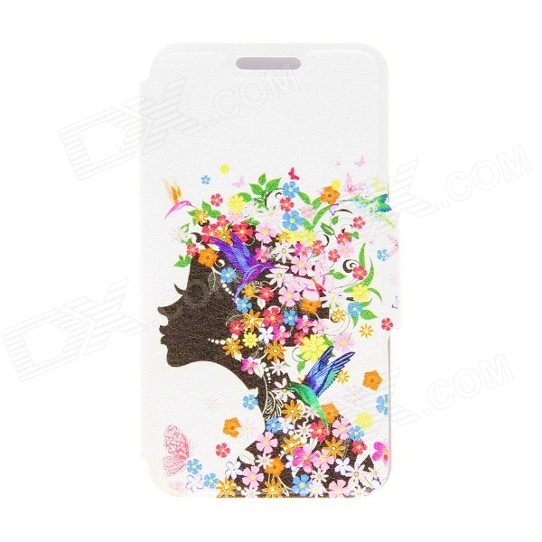 Kinston Flower Girl Pattern PU Leather Full Body Case with Stand for Moto G kinston flower