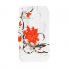 Kinston Flores Patterned PU Leather Full Body Case w / Stand para Motorola Moto G - Branco + Vermelho
