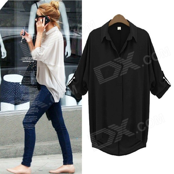 Women's Sexy Fashionable Summer Loose Long-sleeved Chiffon Blouse - Black (Size L)