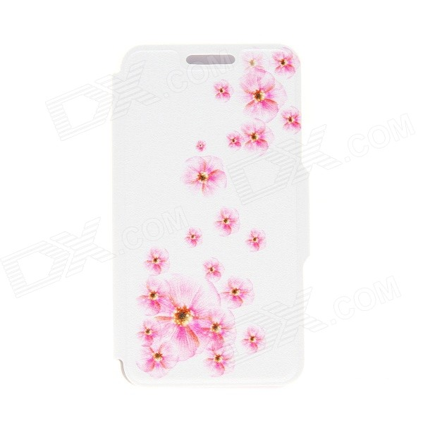 Kinston Peach Blossom Pattern PU Leather Full Body Case with Stand for Motorala Moto G - White + Red