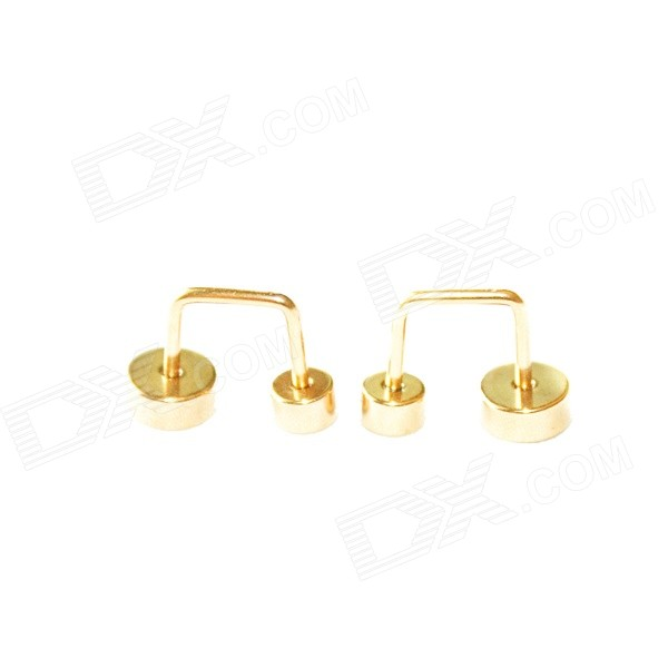 ME-008 Stylish Double-Circle Stainless Steel Ear Studs Earrings - Golden (2 PCS)