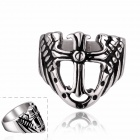 European and American Retro Rock Style Cross Titanium Steel Ring - White + Black (US Size: 7)