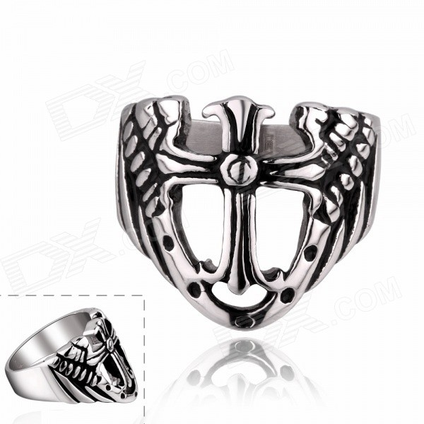 European and American Retro Rock Style Cross Titanium Steel Ring - White + Grey  (US Size: 9)