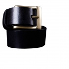 M159 Men's First Layer Cow Leather Belt w/ Pin Buckle - Black