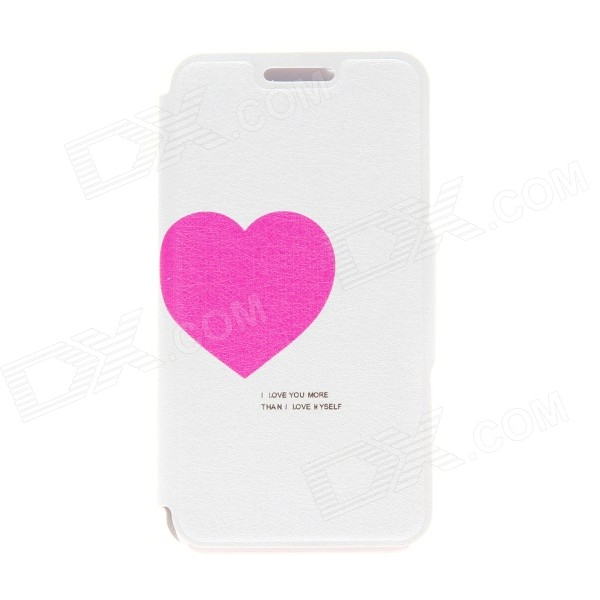 Kinston 'Love for You' Pattern PU Leather Full Body Case w/ Stand for HTC Desire 816 - White