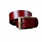 M159 Men's First Layer Cow Learher Belt w/ Pin Buckle - Red