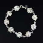 Women's Stylish Roses Patterned Bracelet - Silver