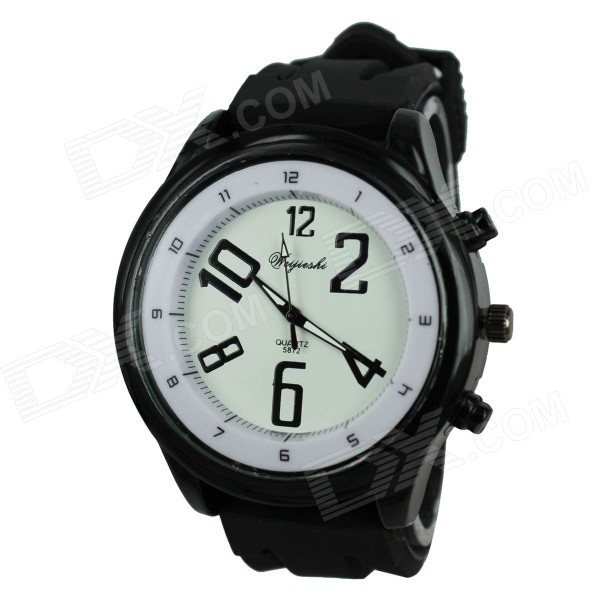 Weijieshi 5872 Men's Silicone Band Quartz Analog Sports Wrist Watch - White + Black (1 x 377) pentagon dial five movement men s sports analog quartz wrist watch black silver 5 x 377 page 7