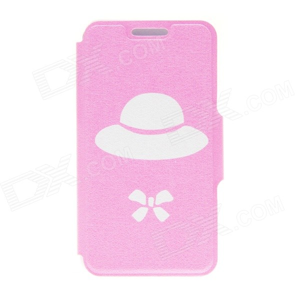 Kinston Straw Hat Bowknot Pattern PU Leather Full Body Case w/ Stand for HTC Desire 816 - Pink