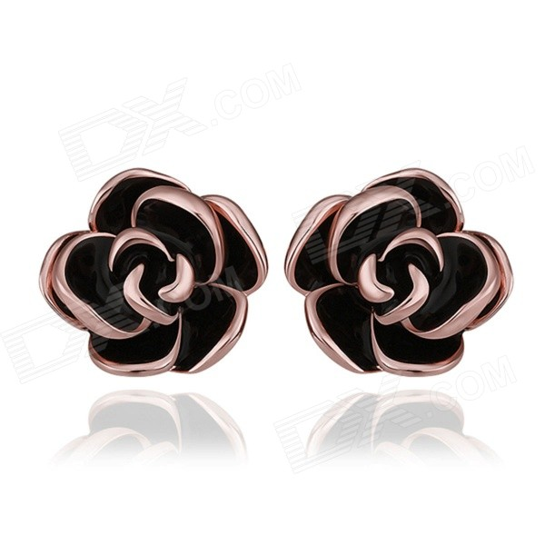 Women's Fashionable Gold-plated Zinc Alloy Ear Studs - Rose Gold (2 PCS)