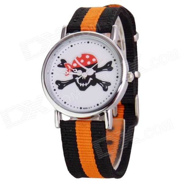 Skull Patterned Canvas Band Quartz Analog Watch - Black + Orange (1 x 377)