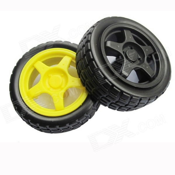 Replacement Wheel Tyre for Toy Car - Black + Yellow (2 PCS) 10pcs 20 8 1 9mm rubber hollow tire car wheel model wheels diy toy accessories for car f17678