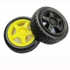 Replacement Wheel Tyre for Toy Car - Black + Yellow (2 PCS)
