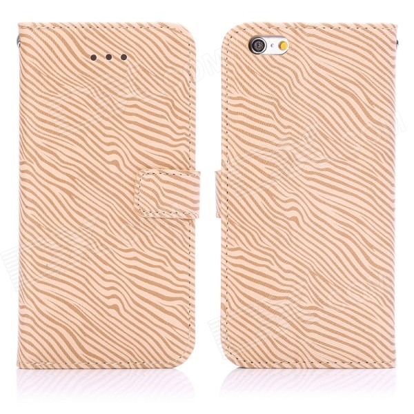 ENKAY Zebra Skin Pattern Protective Flip Open Case w/ Stand / Card Slots for IPHONE 6 4.7 - Brown solid color litchi pattern wallet style front buckle flip pu leather case with card slots for doogee x10