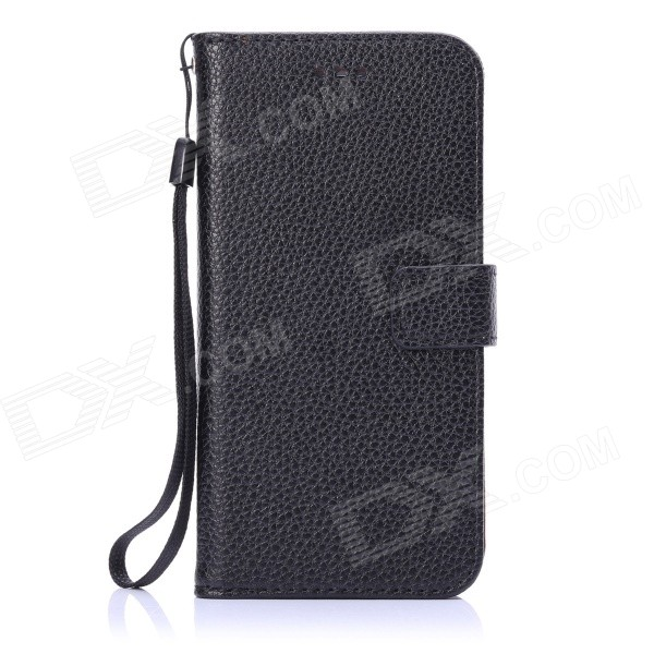 ENKAY Protective PU Leather Flip Open Case w/ Stand / Strap / Card Slots for IPHONE 6 4.7 - Black solid color litchi pattern wallet style front buckle flip pu leather case with card slots for doogee x10