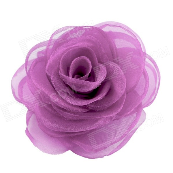 eQute Elegant Fashionable Solid Rose Flower Headdress Hair Clips / Corsage - Pourpre