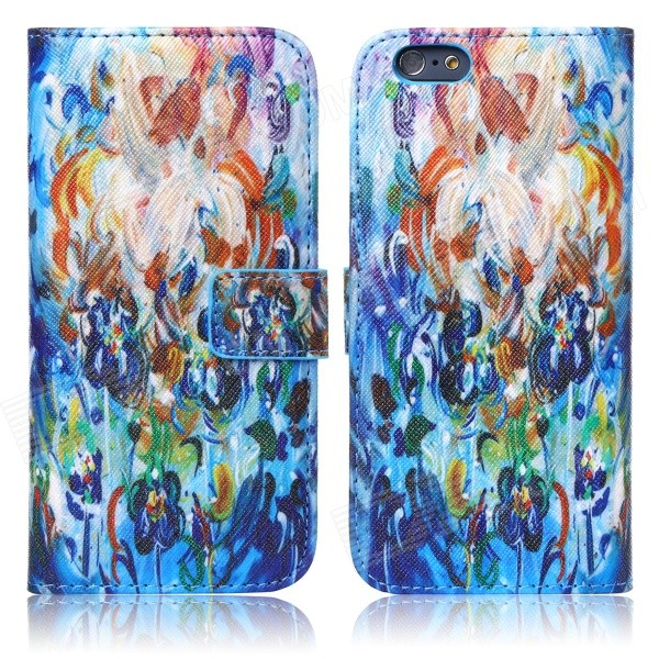 где купить ENKAY Oil Painting Style Protective Flip Open PU Case w/ Stand / Card Slots for IPHONE 6 4.7