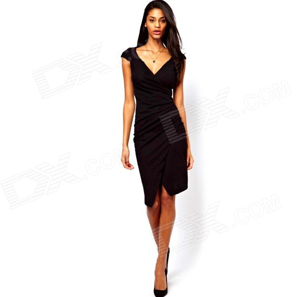 Women's Short Sleeves V-neck Elegant Casual Sexy Pencil Dress - Black (M)