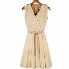 Summer Casual Women Chiffon Dresses Sleeveless Vest Pleated Dress - Cracker Khaki (M)