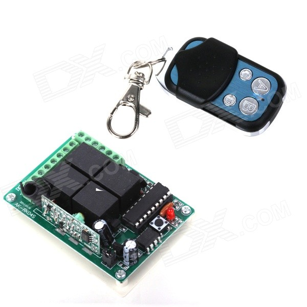 ZnDiy-BRY DC 12V 4-CH Learning Code Remote Control Switch Kit - Black + Blue zndiy bry rf dc12v 1 ch learning code remote control switch w controller black