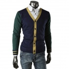 D259 Men's Fashionable Knitted Cardigan Small Coat - Deep Green (XL)