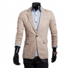 D2669 Men's Stylish Leisure Pure Color Small Suit - Camel (XL)