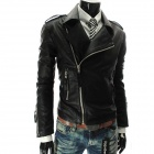 G2566 Cool Men's PU Zipper Lapel Jacket - Black (XL)