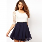 YT148003 Women's Sexy Fashion Summer Lace + Chiffon Half-Sleeve Dress - White + Black (L)