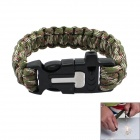 Bracelet Style Outdoor Survival Emergency Rope w/ Survival Flintstone  - Camouflage