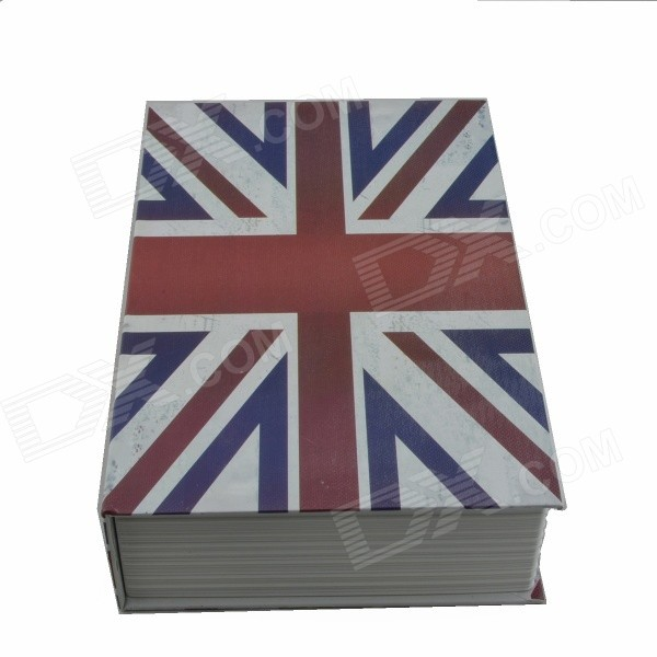 Flag of UK Pattern Cover Book Style Storage Box w/ Keys - White + Red + Blue flower pattern foldable cosmetic storage box blue white