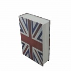 Flag of UK Pattern Cover Book Style Storage Box w/ Keys - White + Red + Blue