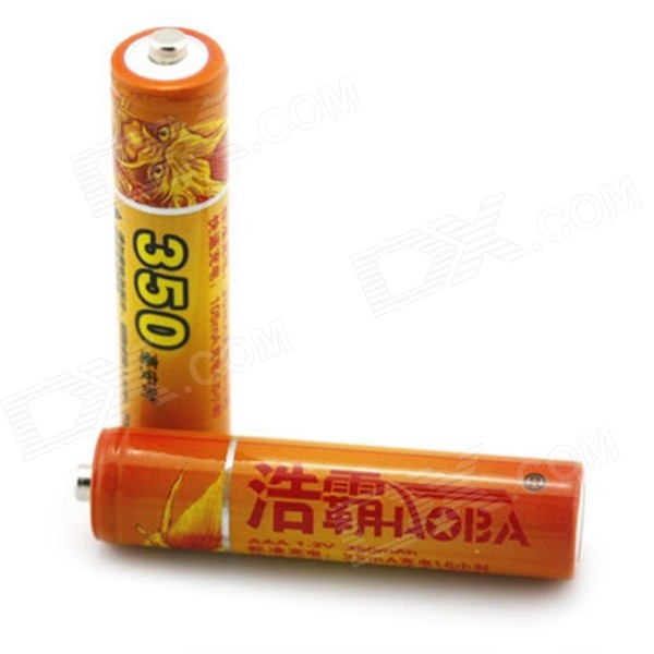 HAOBA 1.2V 350mAh Rechargeable AAA Ni-MH Batteries - Yellow (2 PCS) 8pcs pkcell battery aaa pre charged nimh 1 2v 1200mah ni mh 3a rechargeable batteries up to 1000mah capacity cycle 1200times