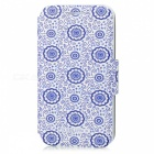 Kinston Vintage Flower Pattern PU Flip Open Case w/ Stand for IPHONE 5 / 5S - Blue + White