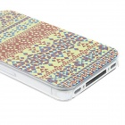 Kinston Ethnic Look Geometrical Canvas Pattern PC Back Case for IPHONE 4 / 4S - Yellow + Multi-Color