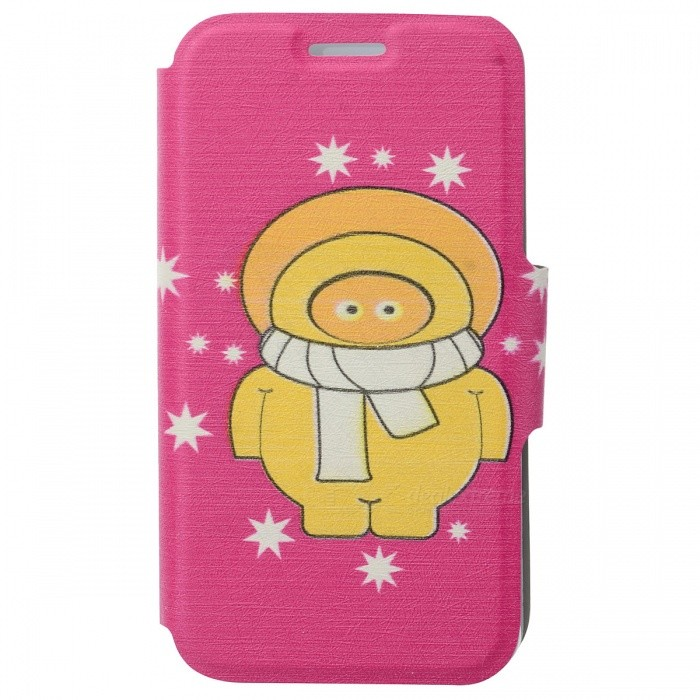 Kinston Christmas Style PU + Plastic Flip Open Case for IPHONE 5 / 5S - Pink + Yellow kinston flowers