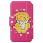Kinston Christmas Style PU + Plastic Flip Open Case for IPHONE 5 / 5S - Pink + Yellow