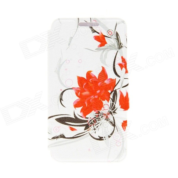 Kinston Flower Patterned Flip-Open Case w/ Stand + Card Slot for Nokia Lumia 520 4.3 - White + Red kinston stylish flip open pu plastic case w stand card slot for nokia lumia 520 4 3 black