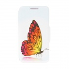 "Kinston Butterfly Patterned Flip-Open Case w/ Stand + Card Slot for Nokia Lumia 520 4.3"" - White"