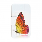 "Kinston Butterfly Patterned Flip-Open Case w / Stand + Card Slot para Nokia Lumia 520 4.3"" - Branco"