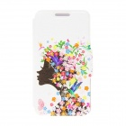 "Kinston Flower Girl Patterned Flip-Open Case w/ Stand + Card Slot for Nokia Lumia 520 4.3"" - White"
